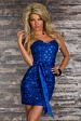 Blue Strapless Belted Sweetheart Sequined Evening Dress