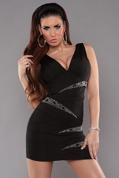 Black V-Neck Pleated Rhinestone Insets Dress