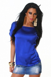 Blue Satin Crew Neck Blouse
