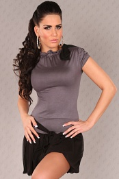 Grey Short Sleeves Bubble Skirt Belted Dress