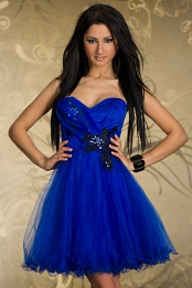 Blue Short Puffy Strapless Prom Evening Dress