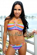 Rainbow Stripes U-ring Halter Padded Bikini