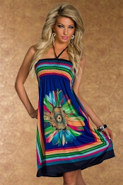 Blue Flower Print Multicolor Stripes Summer Dress