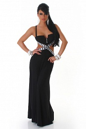 Black Naked Back Rninestoned Long Evening Dress
