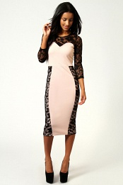 Pink Hatty Lace Sweetheart Neck Midi Bodycon Dress