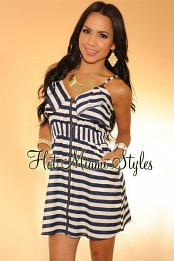 Navy-Blue Stripes Ruffled Zip Front Pocket Dress