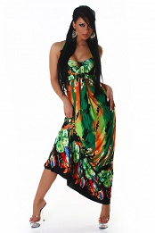 Bright Green-Orange Flower Long Summer Dress