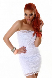 White Lace Strapless Short Dress