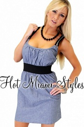 Denim Blue 2fer Zipper Straps Halter Dress