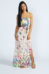 Cream Lee Butterfly Print Bandeau Maxi Dress