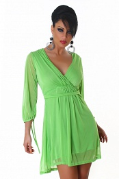 Green V-neck High-Waisted Dress
