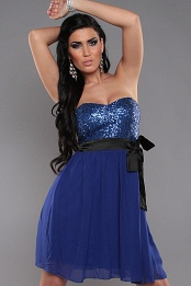 Blue Sexy Bandeau Dress With Sequins And Loop