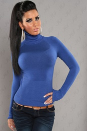 Blue Sexy Turtleneck Pullover