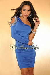 Blue Embellished Cut-Out Shoulder Ruched Dress