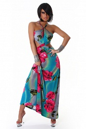 Turquoise Flower Print Criss-Cross Straps Long Summer Dress