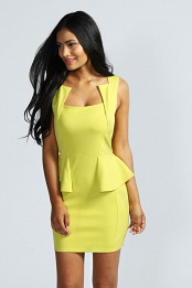 Lime Olivia Square Neck Peplum Bodycon Dress