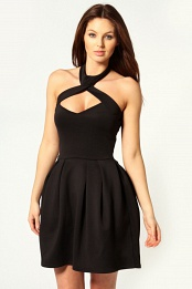 Black Amanda Halter Neck Lantern Dress