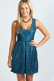 Teal Shelly Lace Scallop Skater Dress