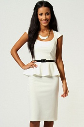 Ivory Keeley Peplum Belted Midi Dress