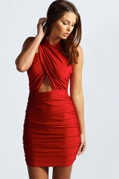 Red Kristen Crossover Front Cut Out Waist Bodycon Dress