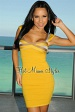 Goldenrod Striped Bandage Dress
