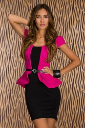 Black-Fuchsia Belted Double Peplum Dress