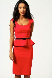 Red Keeley Peplum Belted Midi Dress