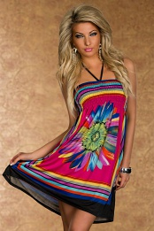 Pink Flower Print Multicolor Stripes Summer Dress