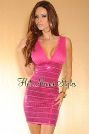 Fuchsia High-Shine V-Neck Bandage Dress