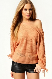Coral Daisy Lace Up Shoulder Oversized Jumper