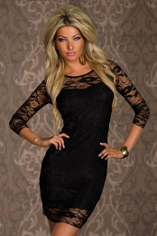 Black 3/4 Sleeves Short Lace Dress