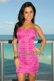 Magenta Jersey Strapless Dress