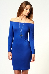 Blue Alice Off The Shoulder Long Sleeve Bodycon Dress