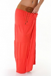 Orange Belted Long Skirt
