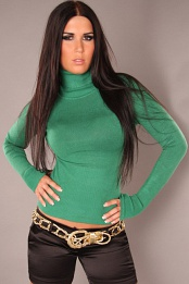 Green Sexy Turtleneck Pullover