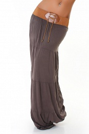 Grey Belted Long Skirt
