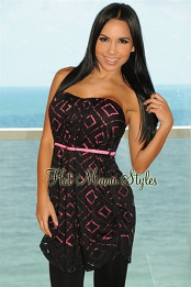 Black Fuchsia Belted Strapless Padded Tunic Top
