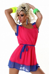 Blue-Pink Two-Color Sleeveless Light Short Dress