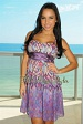 Purple Padded Abstract Studded Babydoll Dress