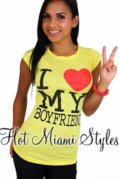 Yellow I Love My Boyfriend Top