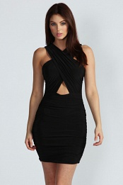 Black Kristen Crossover Front Cut Out Waist Bodycon Dress