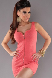 Coral Sexy Minidress With Zipper