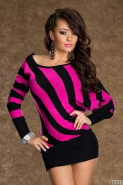Black-Fuchsia Striped Knitted Sweater Dress