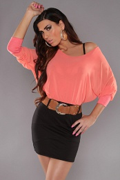 Coral Top Black Skirt Off-Shoulder Belted Dress