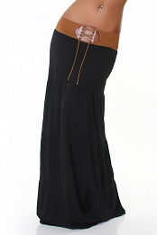 Black Belted Long Skirt