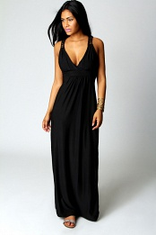 Black Jess Crossover Front Lace Back Maxi Dress