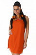 Orange Straight Dress With Decorated Collar