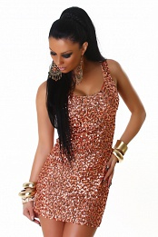 Bronze Sequined Sleeveless Club Dress