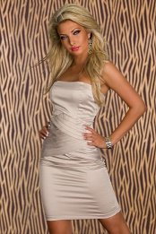 Beige Strapless Woven Belly Bodycon Satin Dress