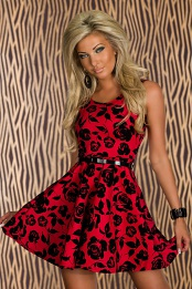 Red Flower Print Belted Flared Cocktail Dress